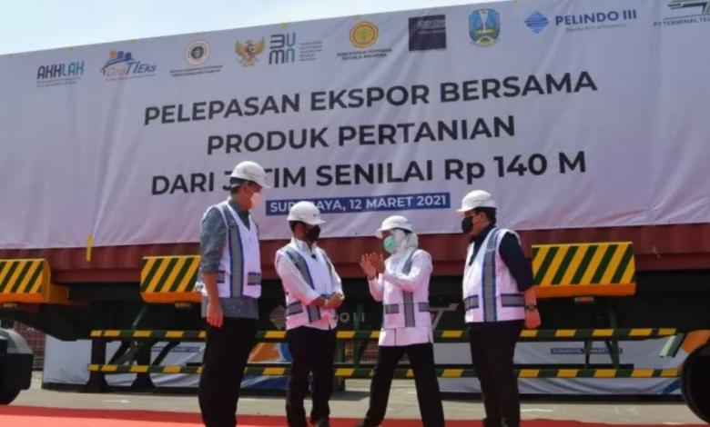 Tiga Menteri Lepas Ekspor Produk Pertanian Jatim Senilai Rp140 Miliar di Teluk Lamong (Foto: Ist/Ant)